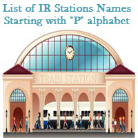 List of IR Stations Names Starting with P alphabet