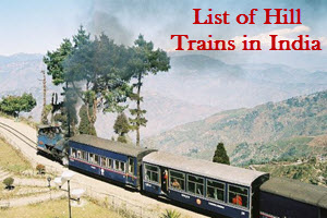 List of Hill Trains in India
